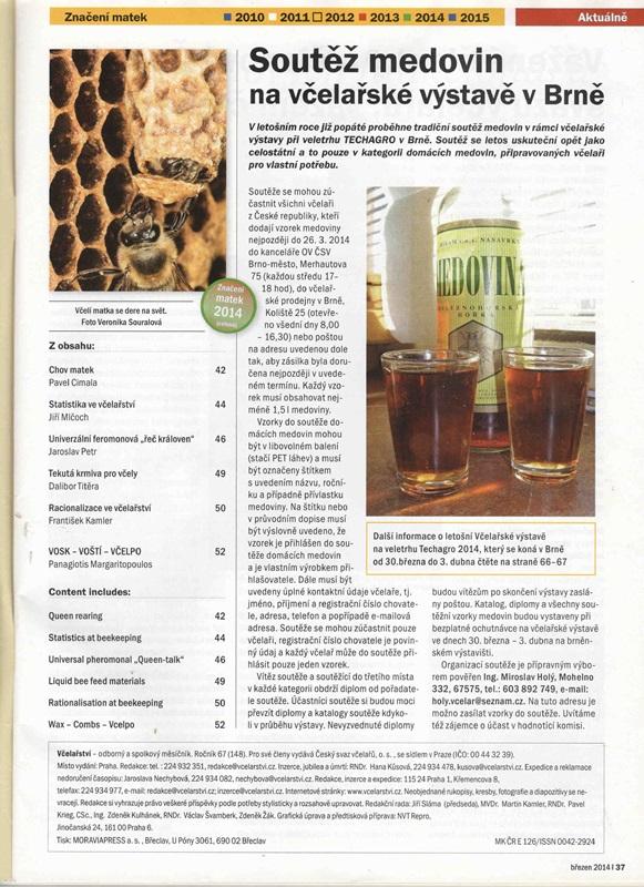 Soutěž domácích medovin  a včelařská výstava v Brně
